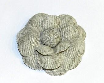 Linen flower brooch, handmade linen camellia,fabric flower camelia,fabric brooch,fabric camelia,natural linen camelia brooch 7cm in diameter