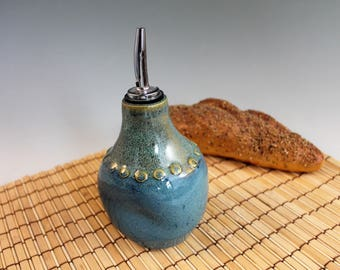Blue Olive Oil Bottle - blue - kitchen - cruet - housewarming gift