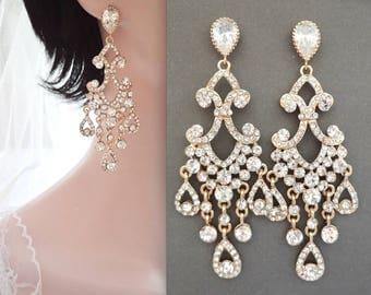 Gold chandelier earrings, Gold crystal chandelier earrings, Brides earrings, Statement earrings, Chandelier wedding earrings, ABRI
