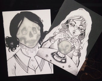 Psychic and dead girl greeting cards