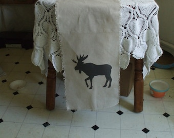 Moose Linen Table Runner