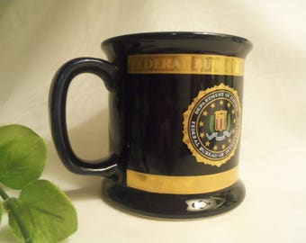 "Extremely Rare Authentic Vintage NEVER USED American Made ""FBI"" Coffee Mug Cup w Seal & Heraldry- Birthday Gift Him Her Father Husband Teen"