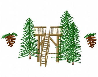 Deck and Trees Embroidery Design - Instant Download