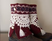 Boot Cuff Sweaters Leg Warmers Wool Spats from Vintage Upcycled Sweater and Lace in Burgandy and Grey Sahalie Inspired