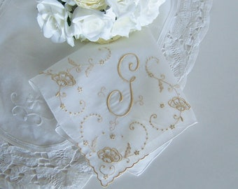 Bride's Wedding Handkerchief Monogrammed G, Gold Embroidery, Something Old Bridal Shower Gift, Bridesmaid Gift or Mother of the Bride Hanky