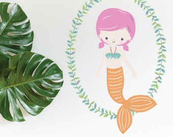 Mermaid Orange With Wreath Removable Wall Sticker | LSB0264CLR-LCN