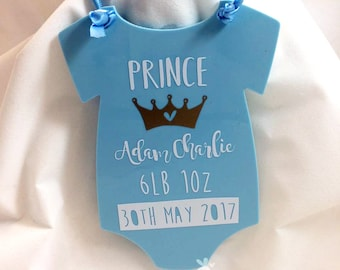 Personalized New Baby Keepsake, birth announcement sign, baby vest sign, baby plaque, baby keepsake, prince, baby name sign, baby stats sign