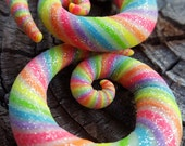 """Rainbow Candy Sugar Spirals. Handmade Polymer Clay Plugs for Stretched Ears  2g 0g 00g 7/16"""" 1/2"""" 9/16"""" 5/8"""" Fake Gauges and 6 - 16 MM also."""