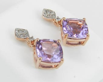 4.20 ct Diamond and Cushion Cut Amethyst Drop Earrings Rose Gold February Birthstone