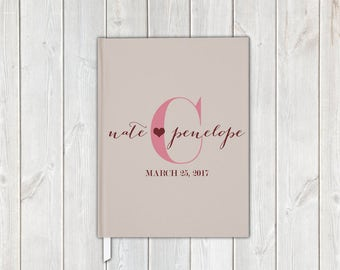 Dark Red and Cream Monogram Handwritten Script Wedding Guest Book with Bride and Groom - Personalized Traditional Guestbook, Journal, Album