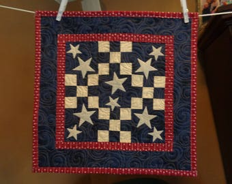Americana 9 patch and Appliqued Stars Little Quilt 0523-02