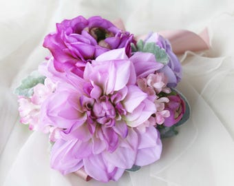 Purple Ladies Wrist Corsage, Bridesmaid Corsage, Mothers Corsage, Silk Flower Corsage, Wedding Corsage, School Formal / Prom Corsage