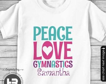 Monogram Gymnastics Shirt or Bodysuit - Personalized Gymnastics Shirt - Peace Love Gymnastics