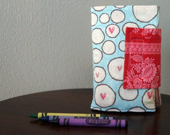 Crayon Roll - Crayon Holder - Crayon Wallet - Hearts & Woodgrain - Girl Gift Idea - Christmas Gift - Stocking Stuffer