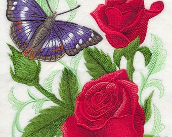 Purple Emperor Butterfly and Roses Embroidered on Kona Cotton Quilt Block // Plain Weave Cotton Dish Towel // Also Available on Other Items