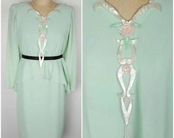 Mint Green 20s inspired Flapper Dress - Ursula - Medium