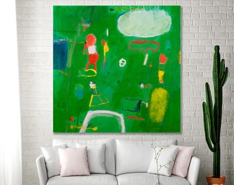 """Large Green Painting Colorful Modern Abstract Art 36x36 fun fresh Canvas art """"Playground 04"""" Contemporary Art by A.F. Duealberi"""