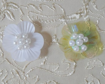 """40pcs 1.5cm 0.59"""" ivory/aqua beads shell sequins appliques patch brooch FRFITWFR free ship"""