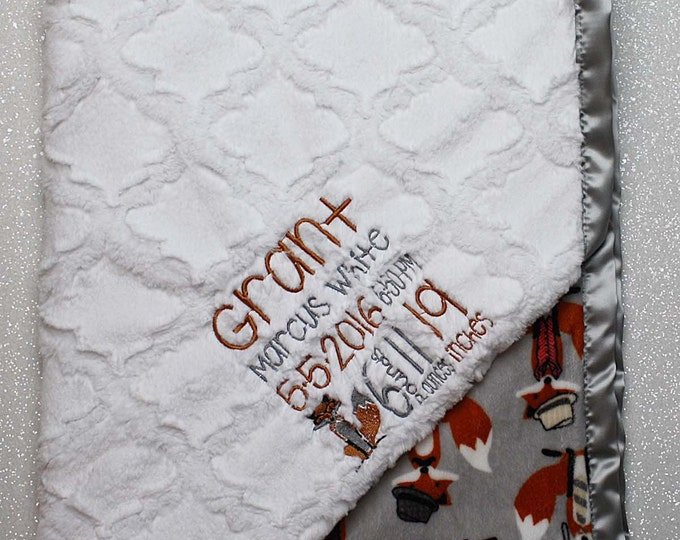 Customizable Minky Blanket, Birth Stats Blanket, birth weight blanket, baby gift, baby girl, baby boy, fox blanket, woodland Embroidered