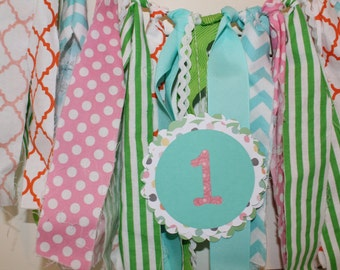 Baby is 1 Banner and Scrappy Fabric High Chair Bunting Set