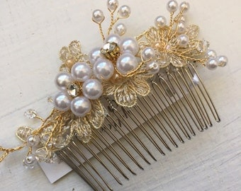 Gold Pearl and Rhinestone Bridal Hair Comb with Lace, rhinestones, diamonds, wedding hair accessory