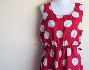 salvation armani vintage dress - vintage summer dress - hot pink with large whit polka-dots - bright vintage dress - hi-low hem