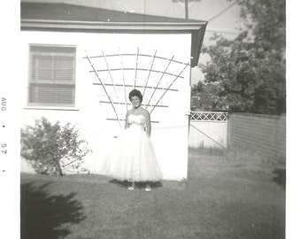 "Vintage Snapshot ""Mid-Century Fashion"" Strapless Gown Prom Wedding Pretty Girl Found Vernacular Photo"