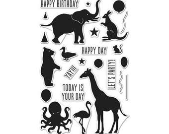 Hero Arts CM142 BIRTHDAY ANIMAL SILHOUETTES matches die DI357, Giraffe, Birthday, Happy Birthday, Party, Peel-off backing, Party Animal