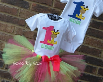 Giraffe Birthday Outfits for Twins-Giraffe Boy/Girl Twin Pink and Blue Outfit-Jungle Safari Twin Set-Zoo Birthday Outfit