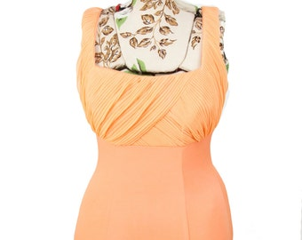1950s Swimsuit // Peach Ruched Bust Rose Marie Reid One Piece