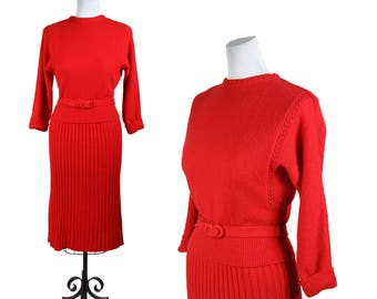 1950s Sweater Set // Red Cable Knit Pullover and Skirt Set