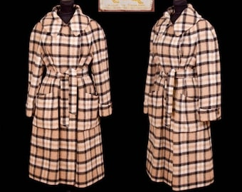 WEEKEND SALE 1960s Coat // Burberry Designer Plaid Wool Coat London England