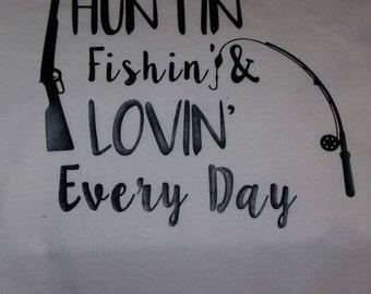 Orange hunting shirt etsy for Hunting fishing loving everyday