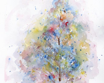 Watercolor Tree Art, Landscape Print, Fine Art, Floral, Modern Art, Ink, Minimalist, Garden Floral, Abstract Art, Bohemian