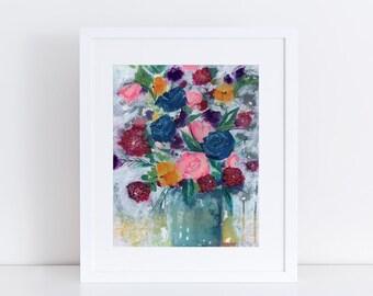 Flowers Art Print, Modern Art, Fine Art Print, Print, Vintage Feel, Garden Floral, Abstract Art, Bohemian