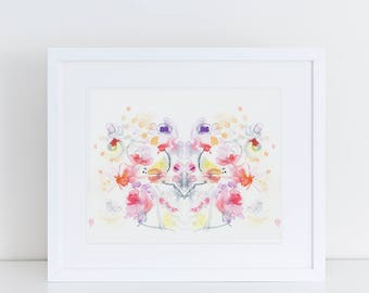 Watercolor Print, Floral Art Print, Modern Art Print, Ink, Minimalist Art Print, Floral Bouquet, Abstract Art, Bohemian Art Print, Fine Art