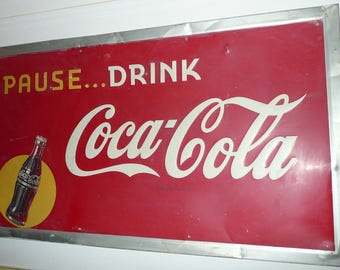 Pause Drink Coca Cola Yellow Dot Bottle 1940s Embossed Self Framed Soda Pop Beverage Sign Advertising Coke Collectable Americana Display