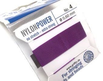 Griffin NylonPower Bead Cord. Amethyst. Stringing Supplies. Pearl Knotting Thread. Beading Thread. No. 4/.60mm. 2 Meters. One (1).