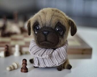 Needle felting - Felt doll - Toy - Felt toys - Needle felted animal - Pug - Felted dog - Personalised gifts - Gift for her - Gift for men
