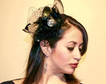 Fascinator Black, Wedding Fascinator, Kentucky Derby Fascinator, Black Race Hat, Tea Party Hat, Black Hat, Weddings