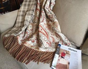 Orange Tangerine Paisley Chenille Throw Blanket, Luxurious Bedding Gray Plaid Throw, European Designer Rug Quilt, Wall Tapestry Hanging OOAK