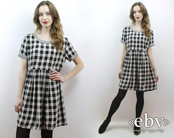 90s Babydoll Dress 90s Grunge Dress 90s Plaid Dress Plaid Babydoll Dress Soft Grunge Dress 90s Mini Dress 1990s Dress 90s Dress L
