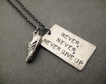 NEVER, NEVER, NEVER Give Up Running Shoe Necklace - Running Necklace on Gunmetal Chain - Runners Never Quit - Winston Churchill Quote Runner