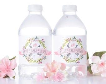 25 Custom Baby Shower Water Bottle Labels - Baby Shower Stickers - Waterproof Water Bottle Labels for Baby Shower - Garden Baby Shower