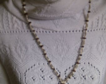 Brown and White Indian Made Seed Bead Necklace