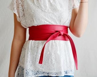 Cherry red obi belt, Sash belt, vegan leather belt, faux leather belt, Obi belt, red obi belt, womens clothing, boho belt, cherry red belt,