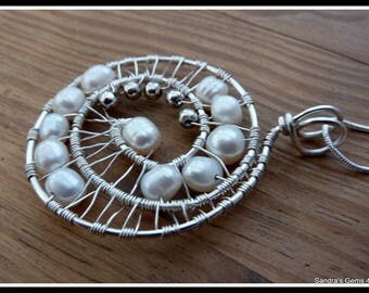 Freshwater Pearl Pendant, wire wrapped in Silver, with chain, June birthstone