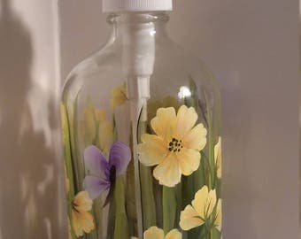 16 ounce hand painted soap/lotion pump dispenser, yellow wildflowers