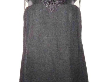 """BIG HOLIDAY SALE 60s Vintage Little Black Dress-Beaded Collar-Chemise-Anita Modes-Size 4-Small-36"""" Bust-Jackie o-Holiday-Sassy-Party-GoGo-Ma"""