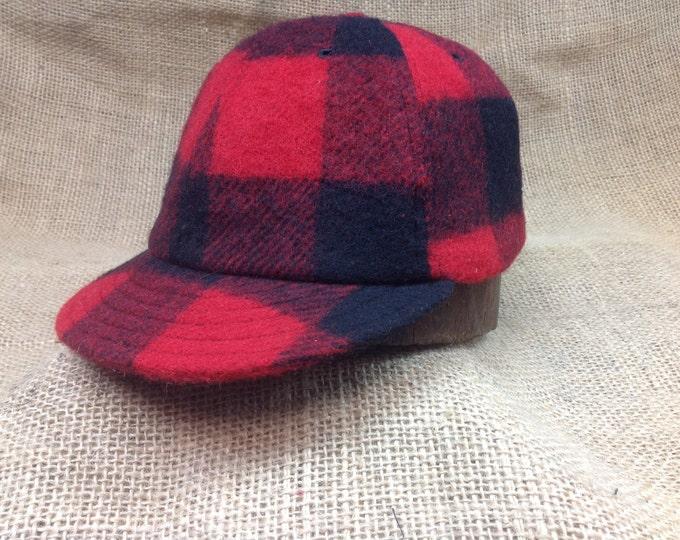 Buffalo plaid wool cap. 1910s visor, leather or cotton sweatband, any size, custom made.